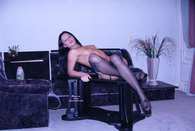 Sexy Long Legs - Black Hair, Erect Nipples, Long Hair, Long Legs, Small Tits, Stockings, Looking At The Camera, Sexy Legs , Reclining On Table, Looking Into Camera, In Living Room, Small Pert Tits, Sheer Black Stockings, Laid Back Long Legs, Sexy And Slim