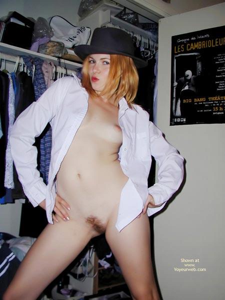 Pic #1 - Dress Shirt - Blonde Hair, Flashing, Small Boobs , Dress Shirt, Blonde, Black Hat, Small Boobs, Private Flash, Tiny Tits