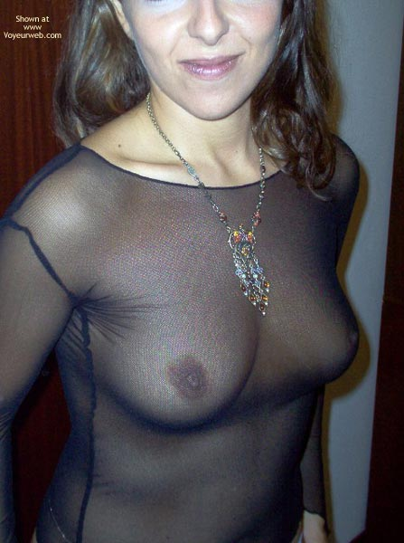 Pic #1 - See-through Top - Top , See-through Top, Black Top, Boobs Through See-through Fabric