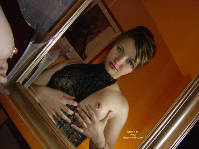 Pic #1 - Dark Grey Blouse, Exposing Left Nipple (pierced) - Flashing , Eye Contact, Tit Flasher, Mysterious, Nipple Bling, Tit Jewelery, Mirror Image, Lace Bustier With One Nip Showing, Mirror Reflection Of Nipple Blimg, A Proper Girl Flashing, Glass Image, Black Lace