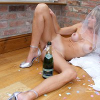 Legs Open On Floor Bride With Bottle Champagne Heels And Veil - Blonde Hair, Heels, Naked Girl, Nude Amateur, Nude Wife