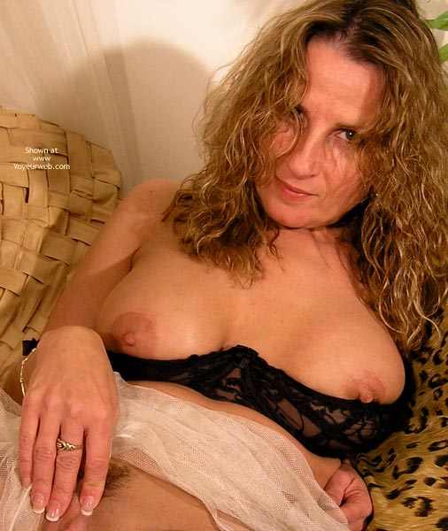 Pic #1 - Touching Herself - Erect Nipples, Large Aerolas, Touching Herself , Touching Herself, Blond In A Shelf Bra, Fingers On Her Clit, Black Bra Pulled Down, Erect Nipples, Large Aerolas, Large Cup Size