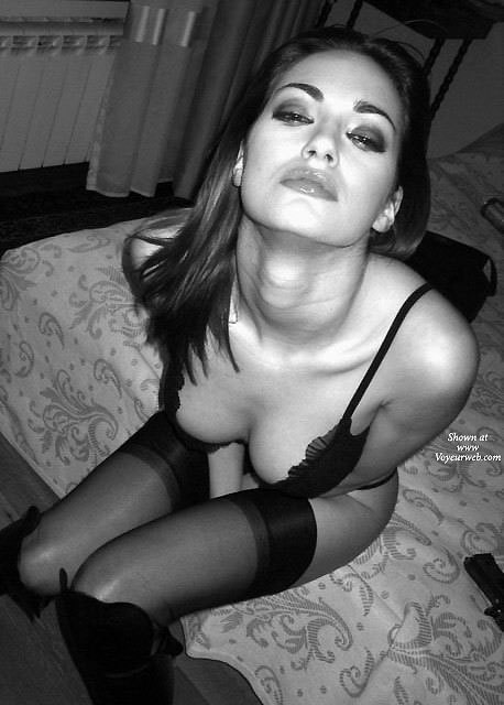 Pic #1 - Sexy Girl In Black Lingerie - Black Hair, Dark Hair, Stockings, Hot Girl, Naked Girl, Sexy Face, Sexy Lingerie , Sitting On Bed, Bra And Stockings, Black Bra, Black Thigh High Stockings, Classic Black Pinup, Sensual Face, Artistic On Bed, Black And White Photo, Half Bra, Black Knee High Boots