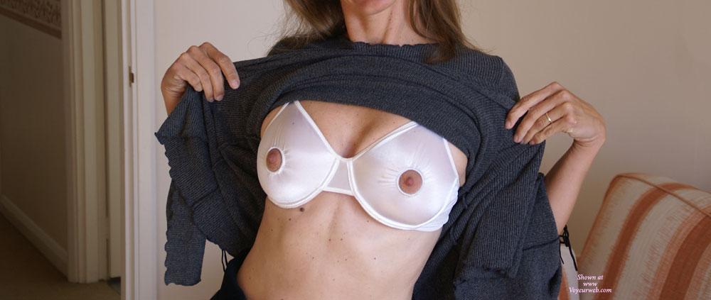 Pic #1 - Nipple Free Bra , Nipple-less Bra, Peekaboo Nipple Bra Flash, White Nipple Bra And Sweater, Bra With Nipples Out, Breastfeeding Bra
