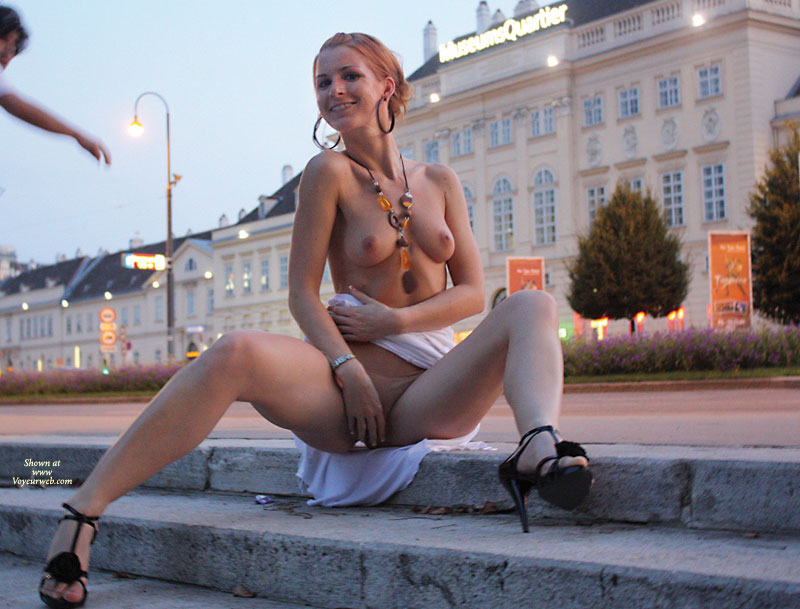 Pic #1 - Nude In Vienna - Exhibitionist, Firm Tits, Heels, Small Tits, Spread Legs, Naked Girl, Nude Amateur , Sitting On Curb, Naked Redhead Outdoors, Naked Outside Vienna, Terrific Smile, Black Ankle Strap Stilettos, Vienna Smiling, Outdoor Exhibitionist, Spread Legs, Hand Covering Pussy, Long Elegant Neck, Naked Outside, Small Firm Tits, Looking Down At Camera, Beauty Vienna Style, Vienna On The Steps, Ready For A Flash, Sitting On Stairs