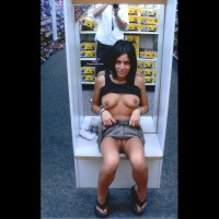 Shoe Store Flashing - Black Hair, Flashing Tits, Flashing, Landing Strip, Long Hair, Pussy Flash
