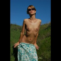 Blonde With Pierced Nipples Undressing Outside. - Blonde Hair, Pierced Nipples, Small Breasts, Sunglasses