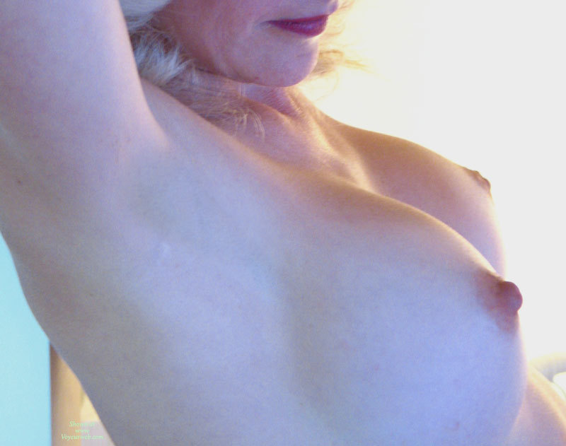 Pic #1 - Closeup Tits - Blonde Hair, Erect Nipples , Large Round Breast