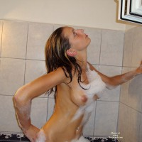 Nude Upper Torso From Side With Soap Suds - Perfect Tits, Naked Girl, Nude Amateur