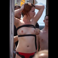 Girl Showing Tits In Public - Erect Nipples, Small Tits, Topless