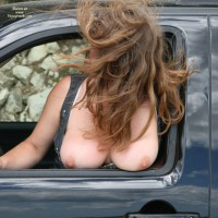 Tits Hanging Out Car Window - Big Tits, Brown Hair, Flashing, Hanging Tits, Huge Tits, Large Breasts, Long Hair, Milf, Topless, Topless Wife