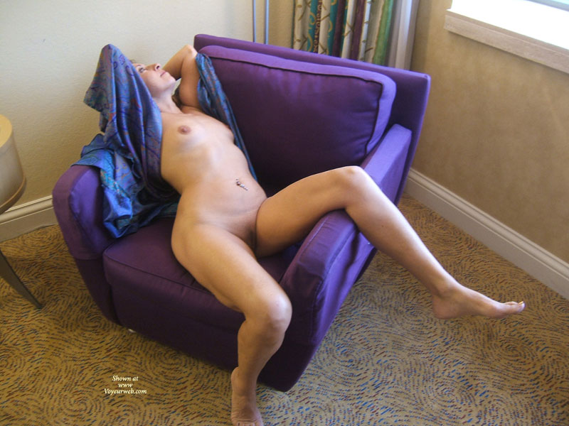 Pic #1 - Naked Girl Reclining On Purple Overstuffed Chair - Navel Piercing, Shaved Pussy, Naked Girl, Nude Amateur , Mature Woman, Pierced Belly Button, Leg Over Chair Arm, Fully Shaved Pussy, Hands Behind Head, Nude Reclining In Chair, Purple And Pink