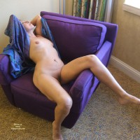 Naked Girl Reclining On Purple Overstuffed Chair - Navel Piercing, Shaved Pussy, Naked Girl, Nude Amateur