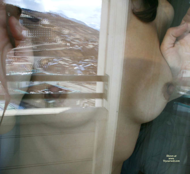 Pic #1 - Pressed Nipples Under Glass - Brunette Hair, Erect Nipples , Firm Breasts, Behind Window, Fit Body
