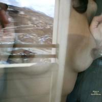 Pressed Nipples Under Glass - Brunette Hair, Erect Nipples