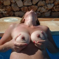 Topless Milf In Pool Holding Tits - Hard Nipple, Milf, Tan Lines, Topless