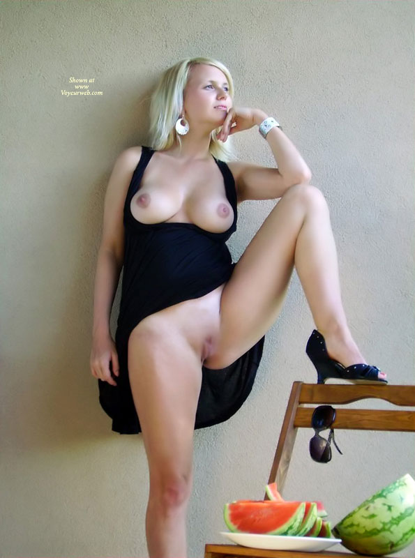 Shaved Pussy - Blonde Hair, Long Legs, Natural Tits, Shaved Pussy , Long Perfect Legs, Black Dress Hitched Up, Black Dress Exposing Tits, One Leg Up On Chair, Black Dress, Against The Wall, One Leg Up, Beautiful Blonde, Large Natural Tits