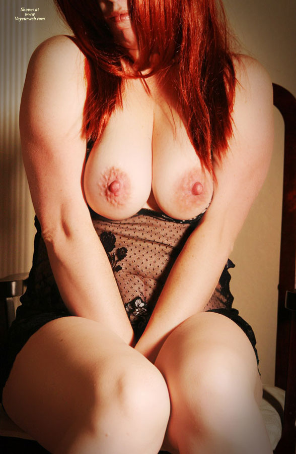 Pic #1 - Pressing Boobs Together - Big Tits, Large Breasts, Long Hair, Red Hair , Red Head, Knees Together, Shrugging Bare Breasts Together, Large Nipples With Puckered Aureolae, Arms Between Closed Legs, Sitting In Chair, Pendulous Breasts, Redhead, Red Hot Tits, Long Red Hair