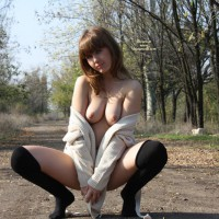 Topless Girl Squats On Footpath In The Woods - Brown Hair, Flashing, Nude In Public, Stockings, Topless, Naked Girl, Nude Amateur