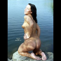 Naked Gf On Her Knees At Lake Beach
