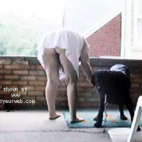 Cindy Brushing the Dog
