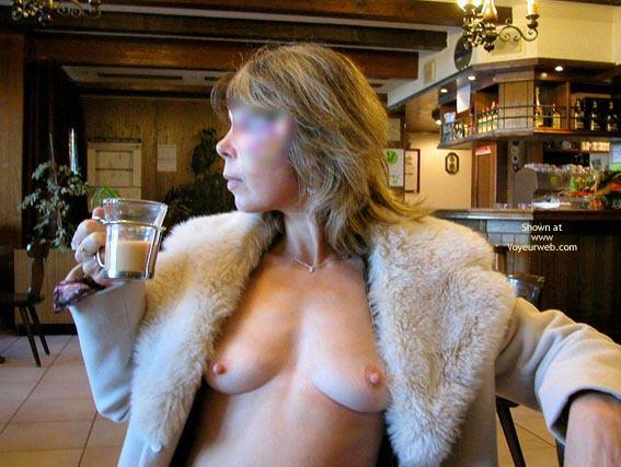 Pic #1 - Breast In Public - Hard Nipple , Breast In Public, Tits Exposed In A Restuarant, Fur Collar Coat, Coat Open To Show Hard Nipples