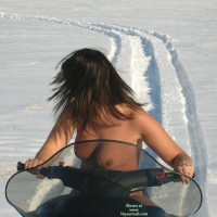 Nude On Snowmobile - Brunette Hair, Milf, Topless, Naked Girl, Nude Amateur