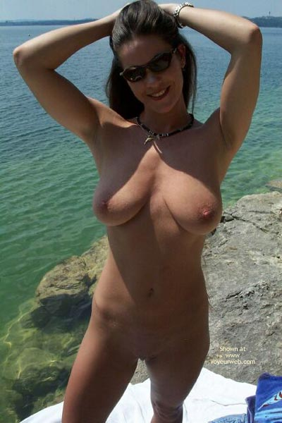 Pic #1 - Nude In Water - Full Frontal Nudity, Nipples, Shaved Pussy, Smiling, Sunglasses, Water , Nude In Water, Full Frontal, Sunglasses, Smiling, Shaved Pussy, Erect  Nipples