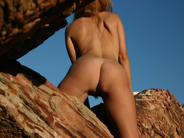 Pic #1 - Blond Nude Woman On Rocks - From Behind , Blond Nude Woman On Rocks, Pussy Hair From Behind, Wfi On The Rocks, Naked Rock Climber
