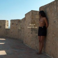 Against A Wall - Nude Outdoors, Topless In Public