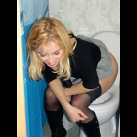 Girl Pissing On Toilet - Blonde Hair, Stockings