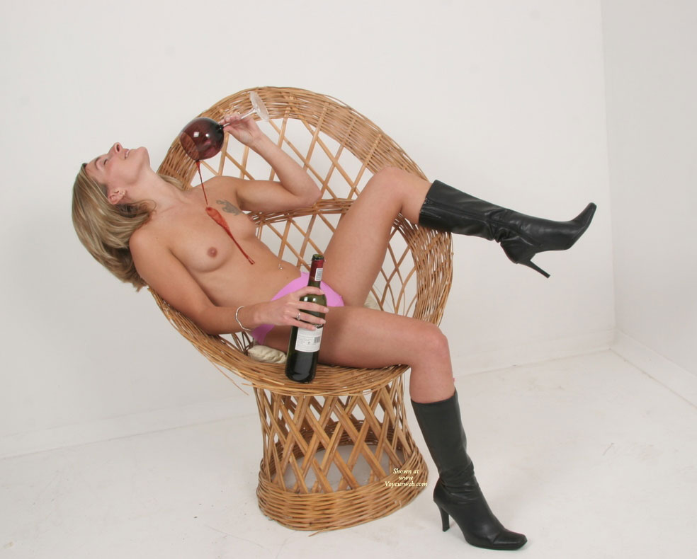 Pic #1 - Lady In Chair Pouring Wine On Her - Blonde Hair, Naked Girl, Nude Amateur , Studio Nude-chair, Wine Dribbling Between Breasts, Black High Heel Boots, Nude Girl Wasting Wine, Women In Chair With Wine, Wine And Tits, Dripping Wine, Wearing Panties, Black Boots, Black High Heeled Boots, Wearing Boots