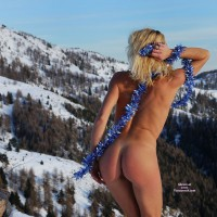 Standing In The Snow With Ass Exposed - Blonde Hair