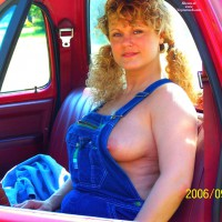 MILF In A Pickup Truck - Blonde Hair, Erect Nipples, Milf
