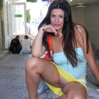 Sexy Wife Shaved Pussy Flash In Public - Brown Hair, Brunette Hair, Exhibitionist, Long Hair, Shaved Pussy, Hairless Pussy, Pussy Flash
