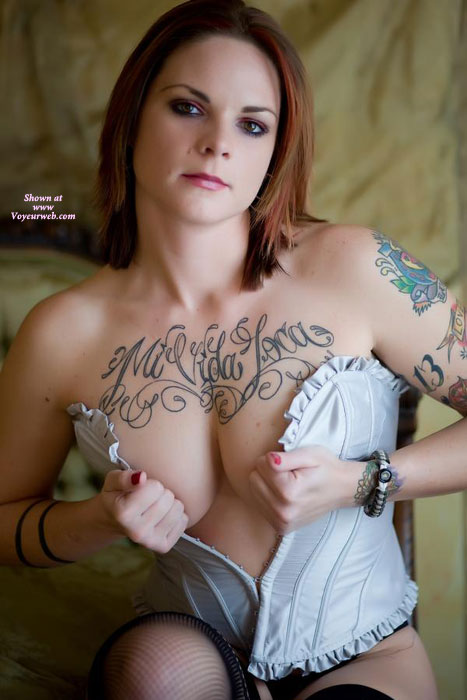 Pic #1 - Sexy Tattooed Girl - Big Tits, Small Tits , Corset And Fishnet Stockings, Body Art, White Satin Corset, Corsets To Small, Standing, Cupping Tits With Corset, Fishnet Hose, Sitting Holding Bustier Closed, Big Titties, Tatooed, Tattoo, Beautiful Eyes