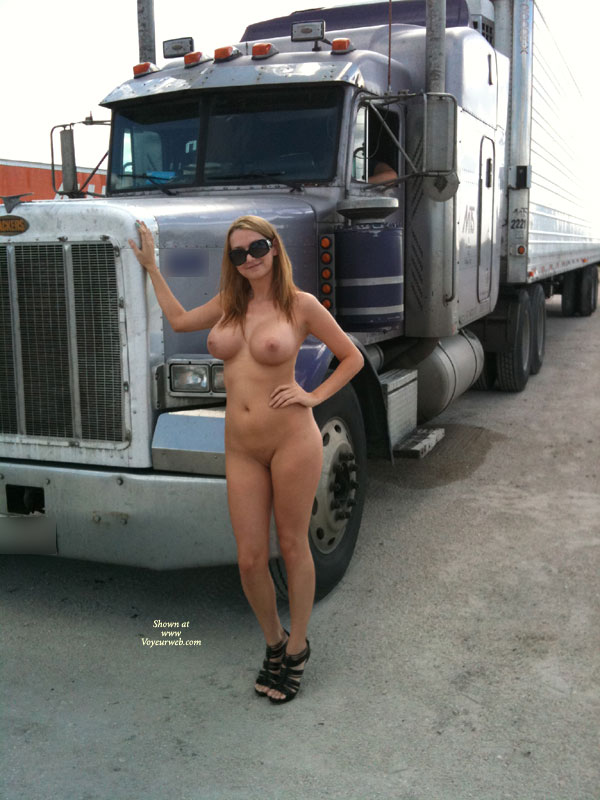 Naked girl in truck