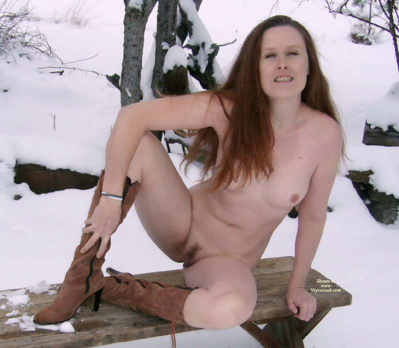 Pic #1 - Winter Nude Wife In The Cold - Landing Strip, Long Hair, Small Tits, Spread Legs, Naked Girl, Nude Amateur, Nude Wife , Tiny Tits And Landing Strip, Legs Spread On Bench, Sitting On Bench, Boots, Long Aubern Hair, Small Titties, Boots And Snow, Nude Frontal In Snow