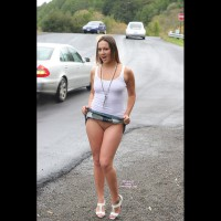 Girl Hitch Hiking No Panties - Bottomless, Flashing, Shaved Pussy, Bald Pussy, Pussy Flash