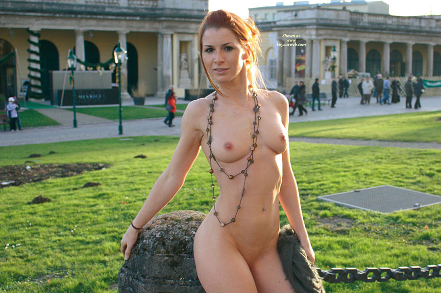 Pic #1 - Nude In Public - Exhibitionist, Nude In Public, Pale Skin, Red Hair, Small Breasts, Bald Pussy, Naked Girl, Nude Amateur , Pale Skin, Smiling At Camera, Vienna Natural Monument, Shaved Pubic Hair, Goddess In The Park, Belly Ring, Shameless, Redhead, Daring Exhibitionist, Pulled Back Red Hair