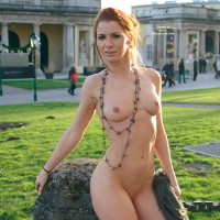 Nude In Public - Exhibitionist, Nude In Public, Pale Skin, Red Hair, Small Breasts, Bald Pussy, Naked Girl, Nude Amateur , Pale Skin, Smiling At Camera, Vienna Natural Monument, Shaved Pubic Hair, Goddess In The Park, Belly Ring, Shameless, Redhead, Daring Exhibitionist, Pulled Back Red Hair