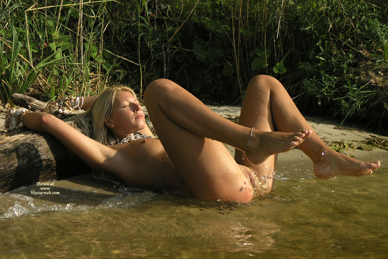 Pic #1 - Dripping Wet Nude Blond Girl Lying In Water - Shaved Pussy, Spread Legs, Tan Lines, Naked Girl, Nude Amateur , Wet Pussy, No Tan Lines, Showing Pussy, Lying On Back On Shore Partially In Water, Raised Legs Bare Feet, Lying At The Waterline, Pussy Tanning, Naked And Lying In Water