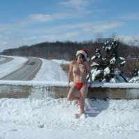 Nude Lady Santa In Snow - Natural Tits, Topless, Naked Girl, Nude Amateur, Sexy Legs