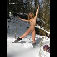 Standing Naked Girlfriend In Snow - Blonde Hair, Pierced Nipples, Shaved Pussy, Small Breasts, Small Tits, Bald Pussy, Naked Girl, Nude Amateur