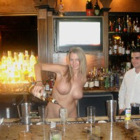 Naked Blonde Bartender In Bar - Big Tits, Blonde Hair, Huge Tits, Long Hair, Nude In Public, Naked Girl, Naked Wife, Nude Amateur