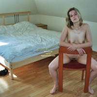 Nude Blonde On Chair - Pale Skin, Naked Girl