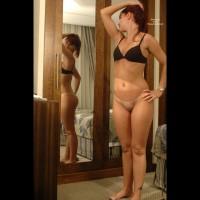 Bottomless Girl In Front Of Mirror - Bottomless, Bra, Mirror Shot, No Panties, Tan Lines