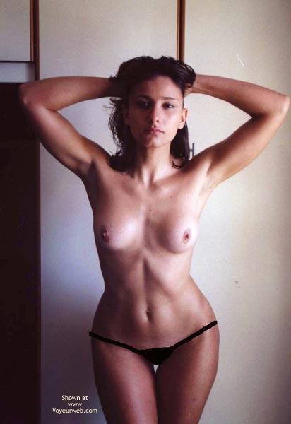 Pic #1 - Topless Hourglass Figure Girl - Dark Hair, Topless , Hands Behind Head, Hips And More, Hour Glass