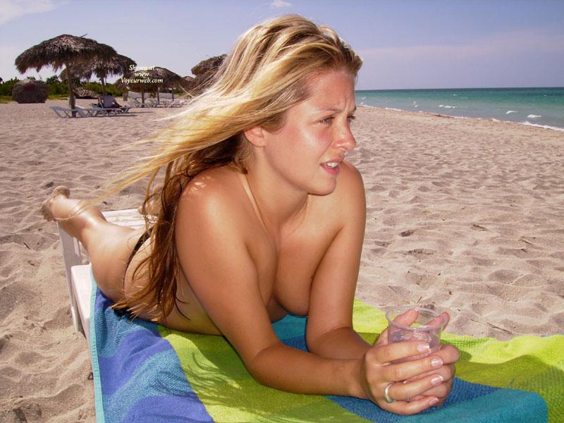 Pic #1 - Pretty Face - Blonde Hair, Long Hair, Topless , Enjoying Sun, Long Blonde Hair On The Beach, Blonde On Beach, Lying On Chaise, Young Blonde, Topless Beach, Lying On Beach, Bare Feet