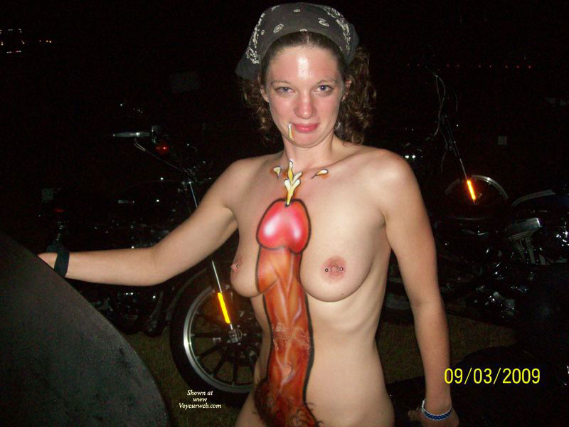 Pic #1 - Body Painted Cock - Brown Hair, Pierced Nipples , Huge Cock, Body Painting, Trashy, Body Art, Body Paint, Big Fat Ugly Cock, Fantasy Fest, Standing Up, Curly Brown Hair, Biker Chic